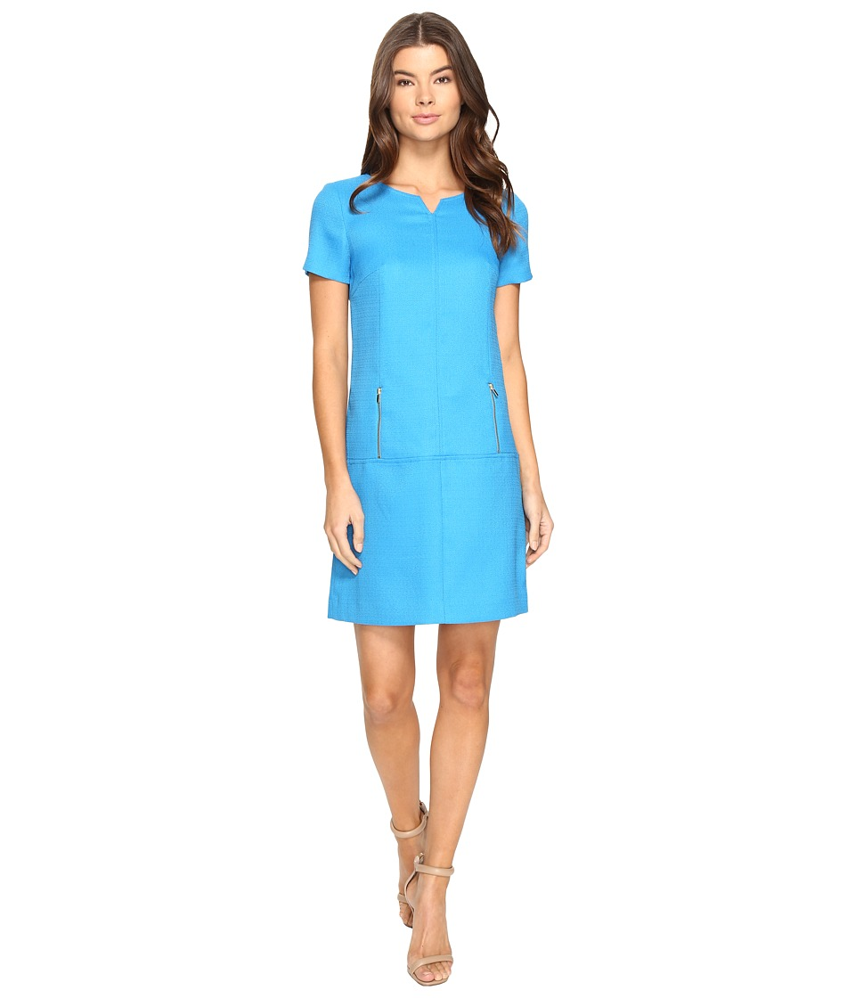 Tahari by ASL - Grasscloth Dropwaist Sheath (Spring Blue) Women's Dress