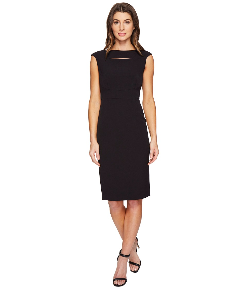 Tahari by ASL - Neck Cut Out Cap Sleeve Sheath (Black) Women's Dress