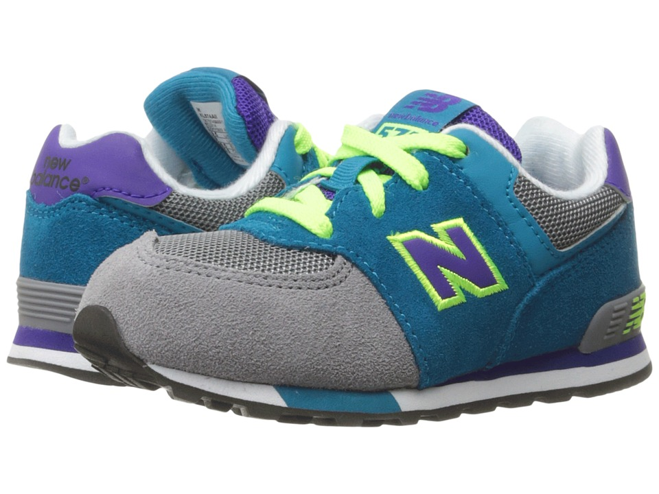 New Balance Kids KL574v1 (Infant/Toddler) (Grey/Teal) Girls Shoes