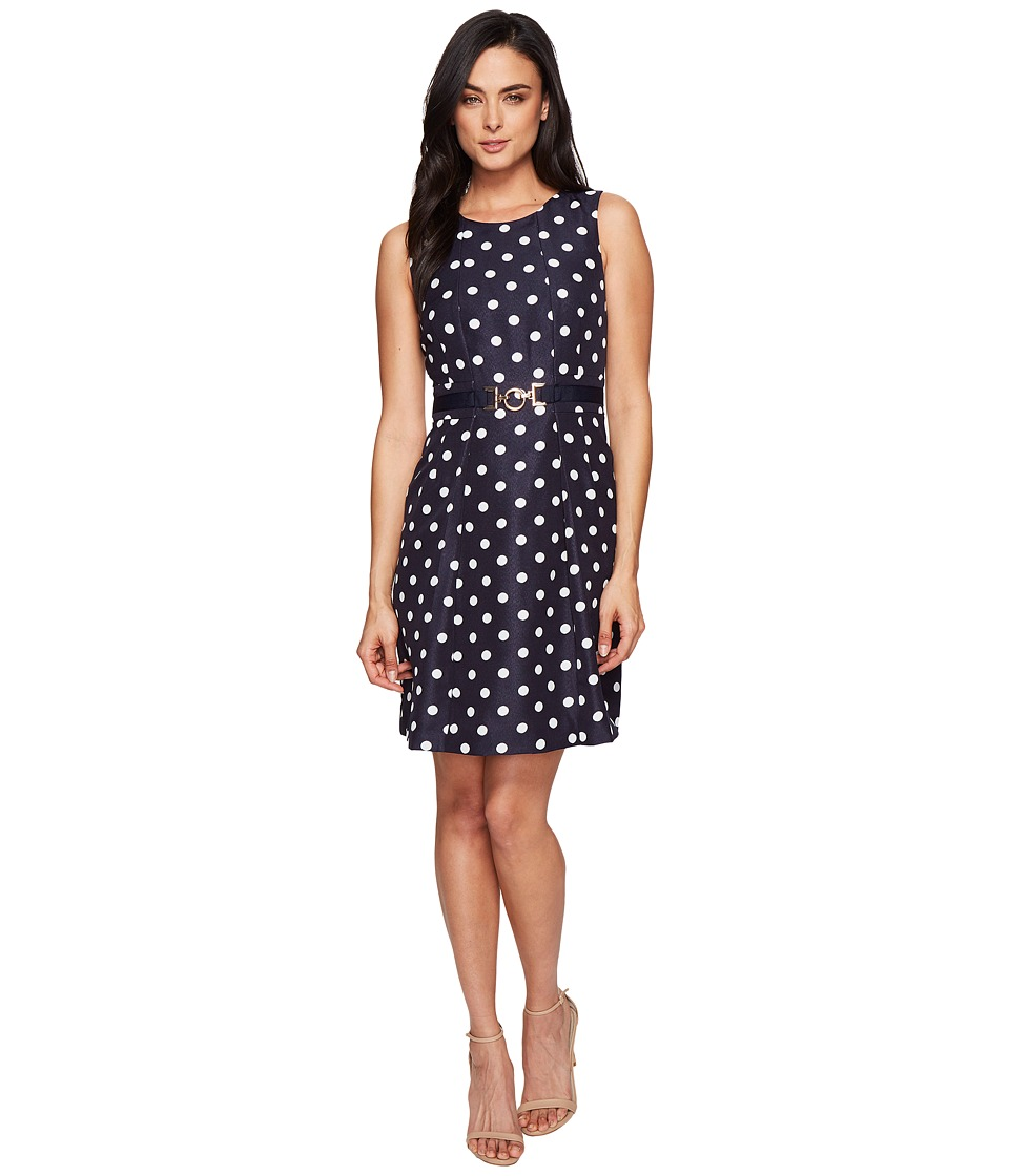 Tahari by ASL - Polka Dot A-Line w/ Hardware (Navy/White) Women's Dress