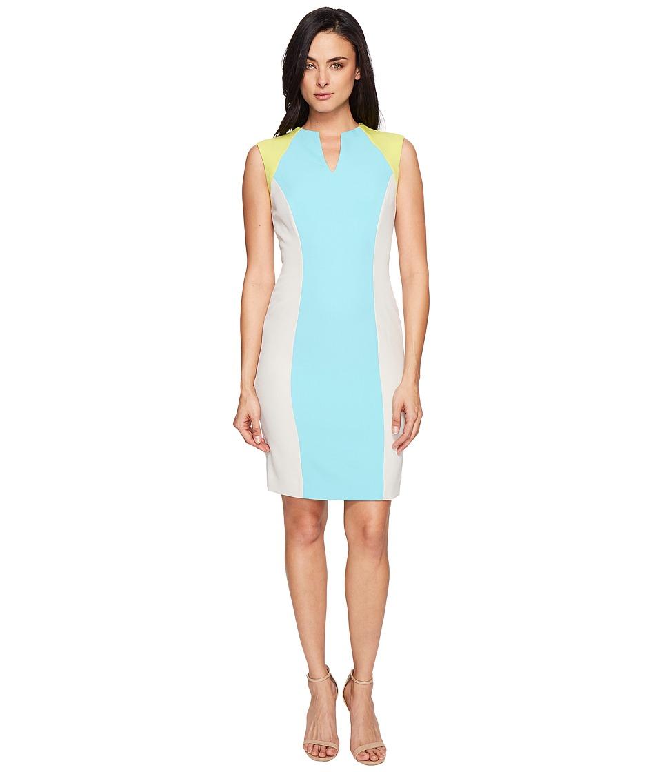 Tahari by ASL - Sporty Crepe Color Block Sheath (Blue/Putty/Kiwi) Women's Dress