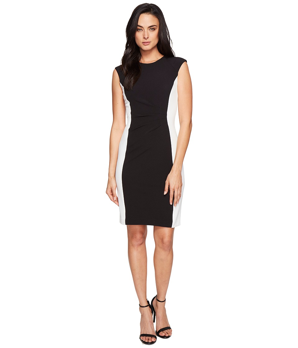 Tahari by ASL - Side Ruche Color Block Sleeveless Crepe Sheath (Black/Ivory) Women's Dress