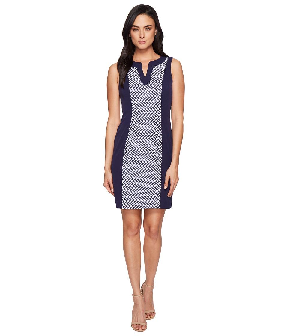 Tahari by ASL - Jacquard Inset Sleeveless Sheath (Navy/White) Women's Dress