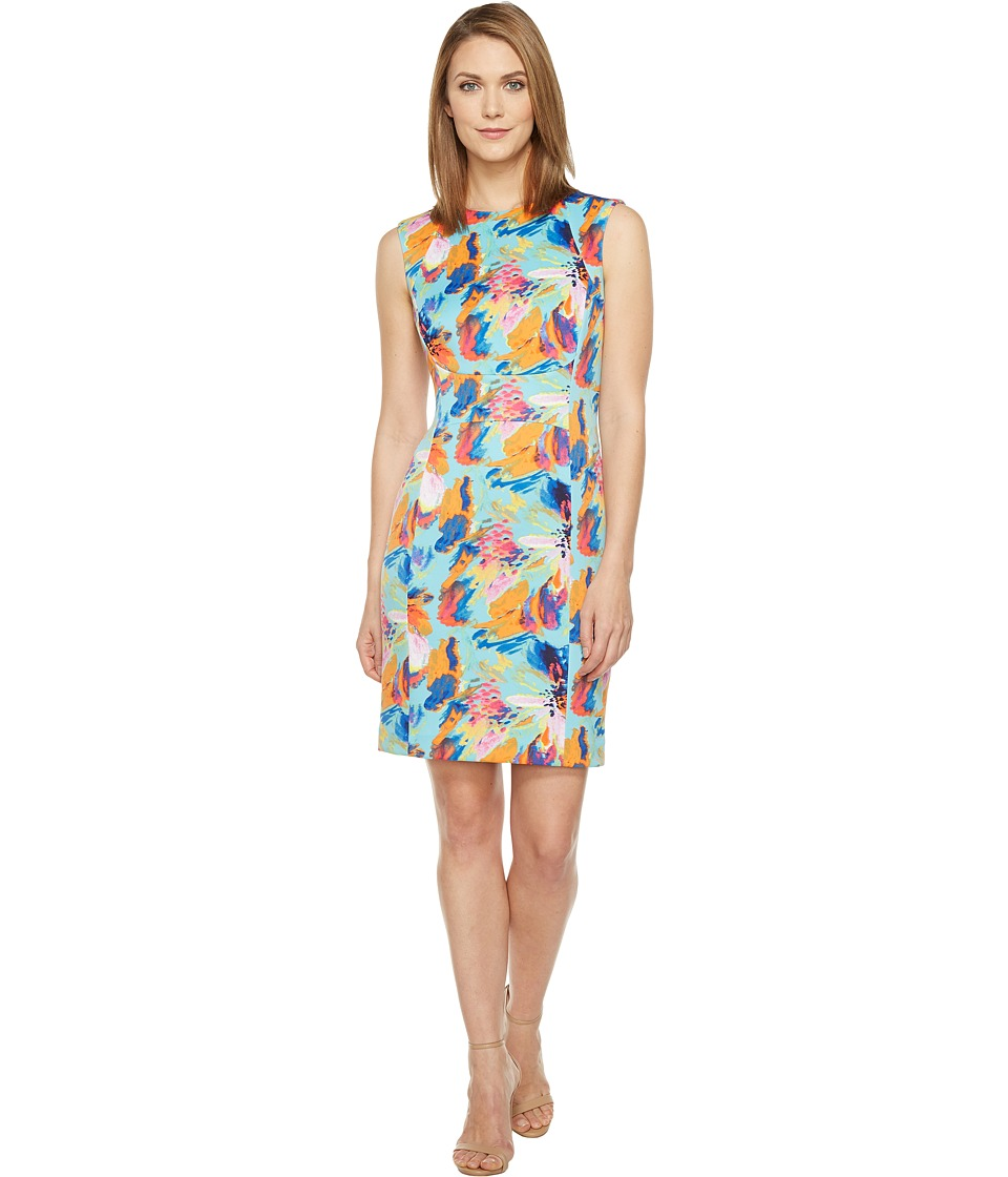 Tahari by ASL - Floral Scuba Sheath Dress (Turquoise/Mango/Pink) Women's Dress