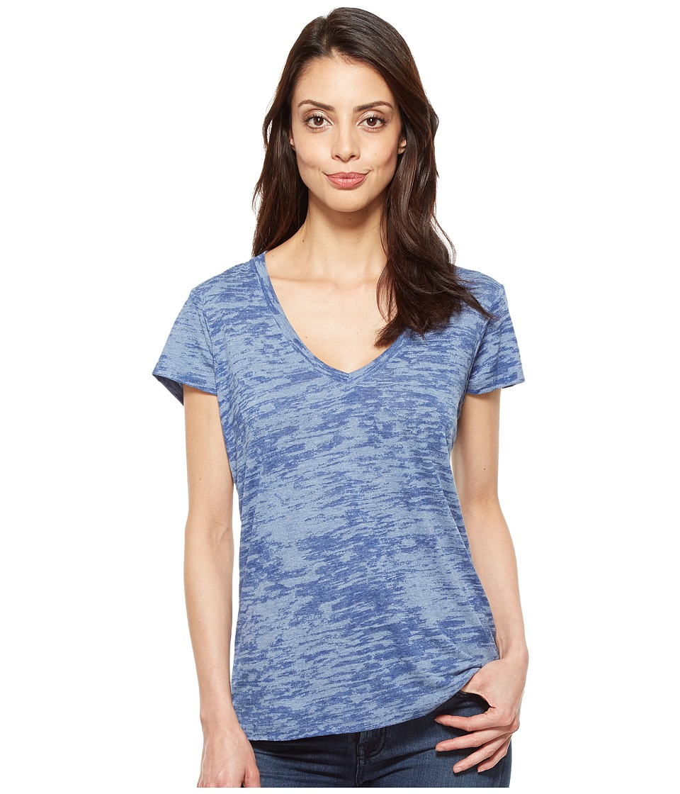 Alternative - Melange Burnout Jersey Slinky V-Neck (Lake Blue Overdye) Women's Clothing