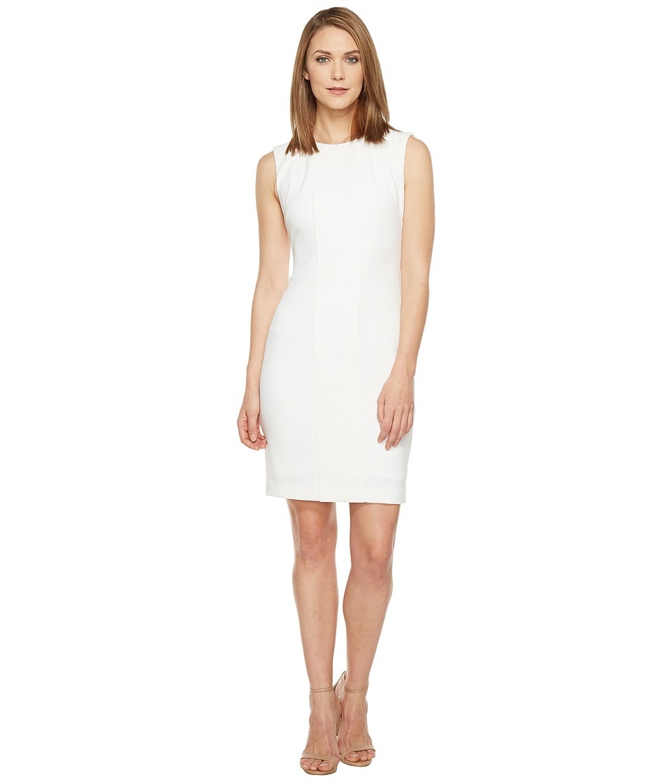 Tahari by ASL - Crochet Inset Scuba Crepe Sleeveless Sheath (White) Women's Dress