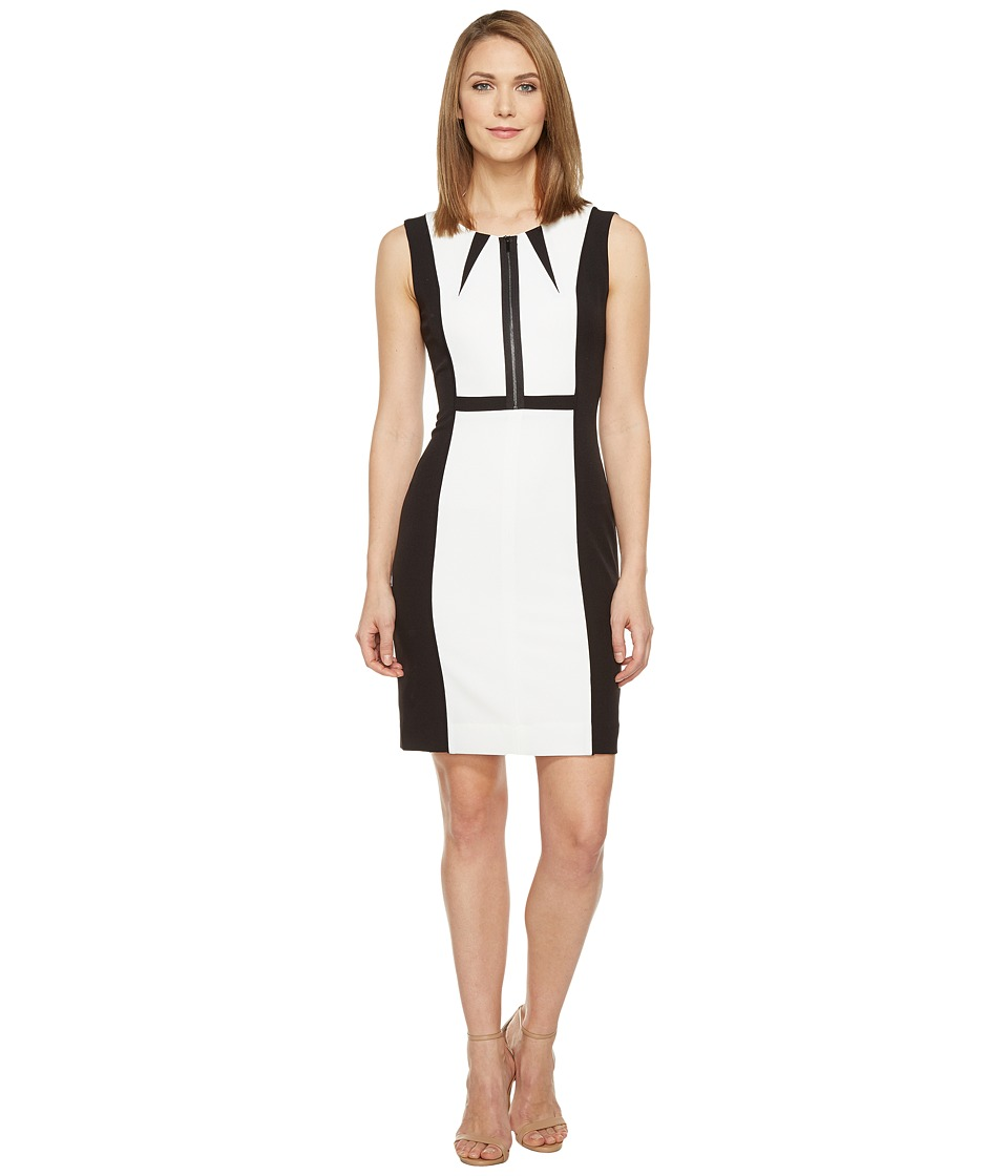 Tahari by ASL - Non-Functional Zipper Bodice Sleeveless Sheath (Black/White) Women's Dress