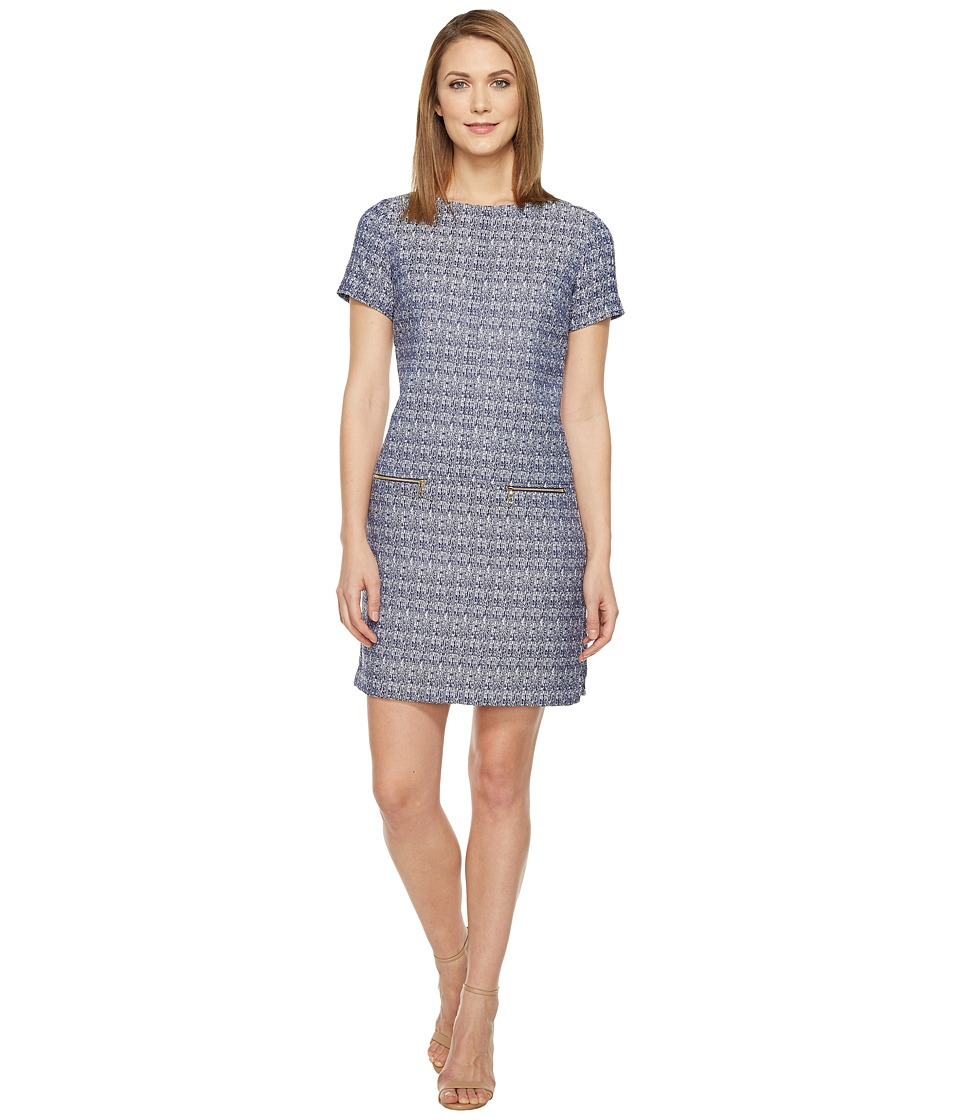 Tahari by ASL - Jacquard Short Sleeve Shift w/ Gold Zipper Pockets (Navy/White) Women's Dress