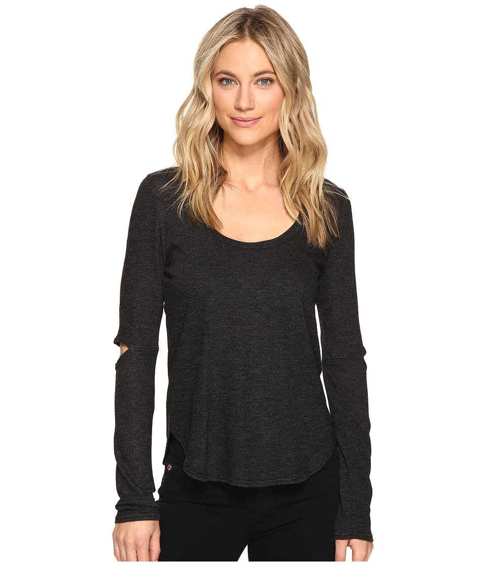 Lanston - Cut Out Long Sleeve Tee (Black) Women's T Shirt
