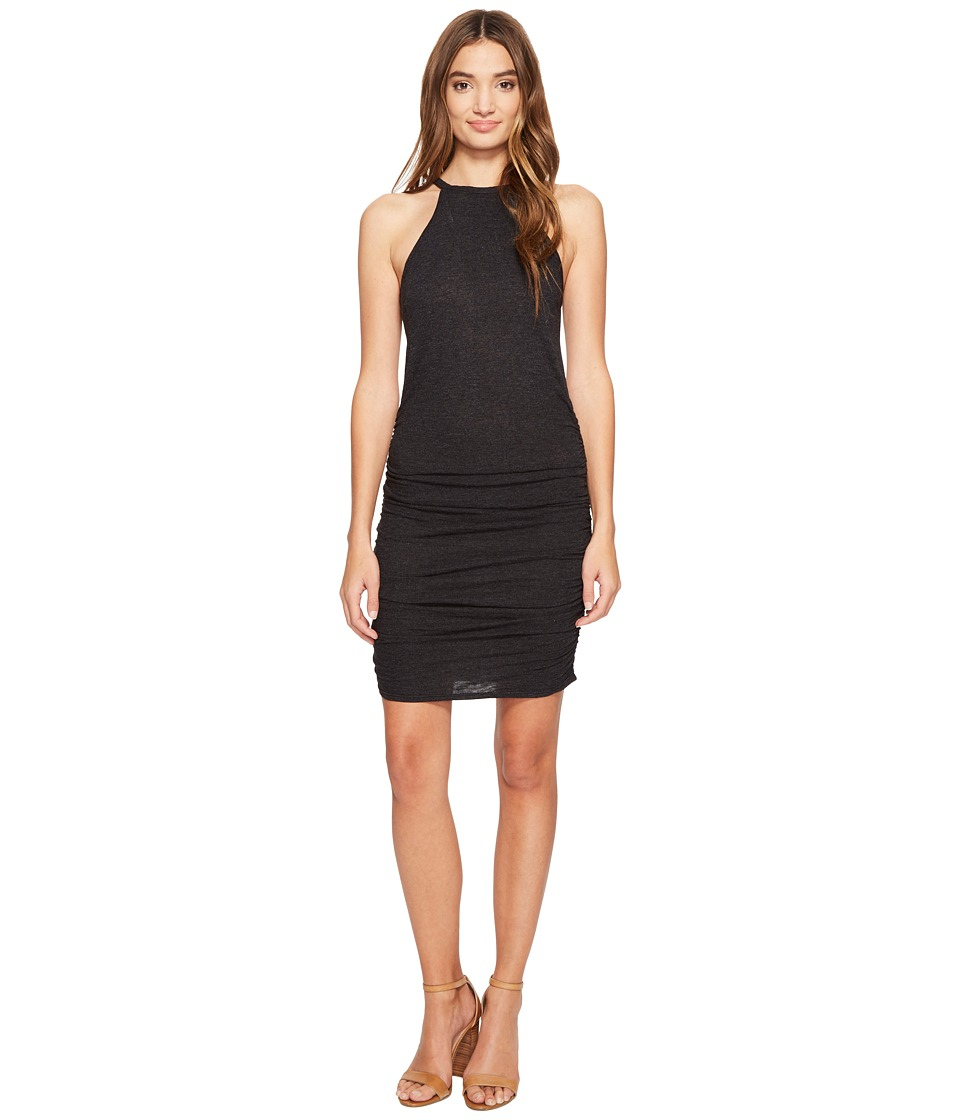 Lanston - Ruched Halter Dress (Black) Women's Dress