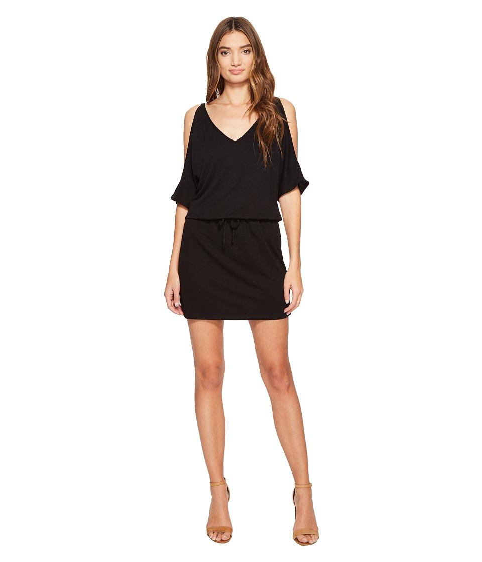 Lanston - Cold Shoulder V-Neck Dress (Black) Women's Dress