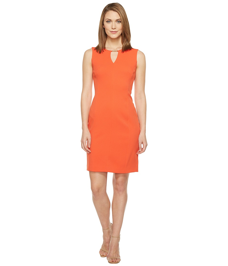 Tahari by ASL - Bamboo Notch Neck Sleeveless Textured Sheath (Tangelo) Women's Dress