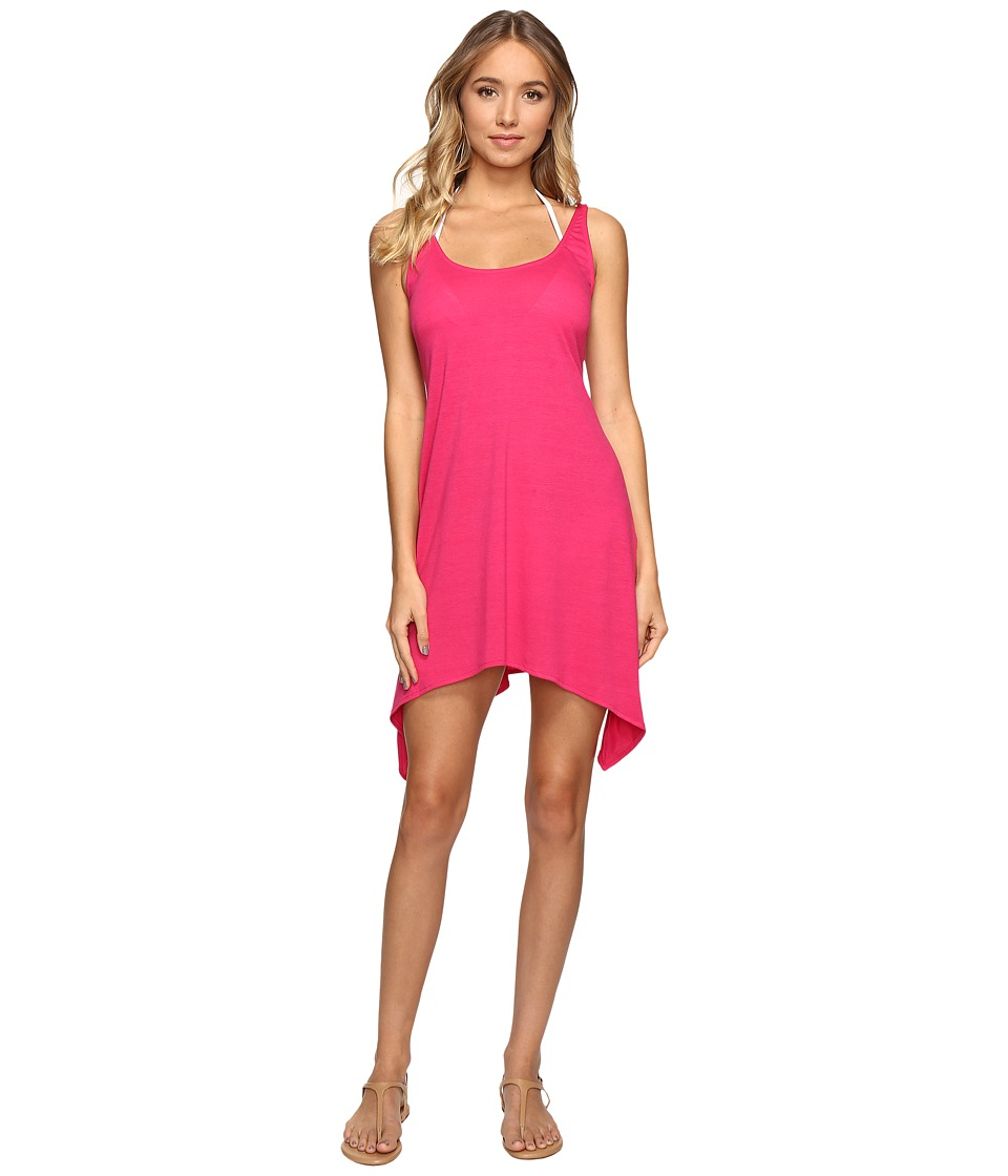 Lucky Brand - Tapestry Shark Bite Dress Cover-Up (Raspberry) Women's Swimwear