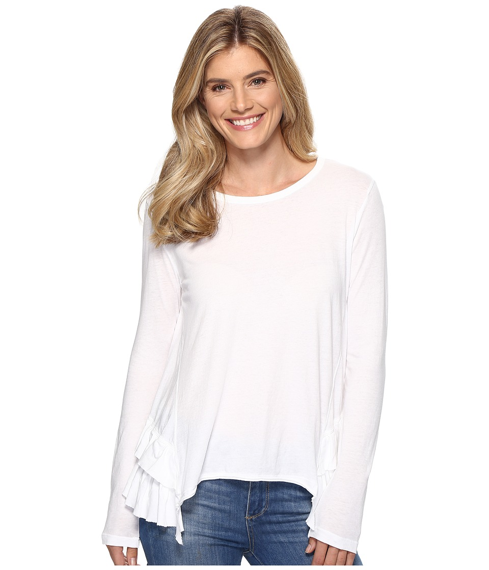 Dylan by True Grit - Vintage Soft Cotton Long Sleeve Double Ruffle Tee (White) Women's Clothing