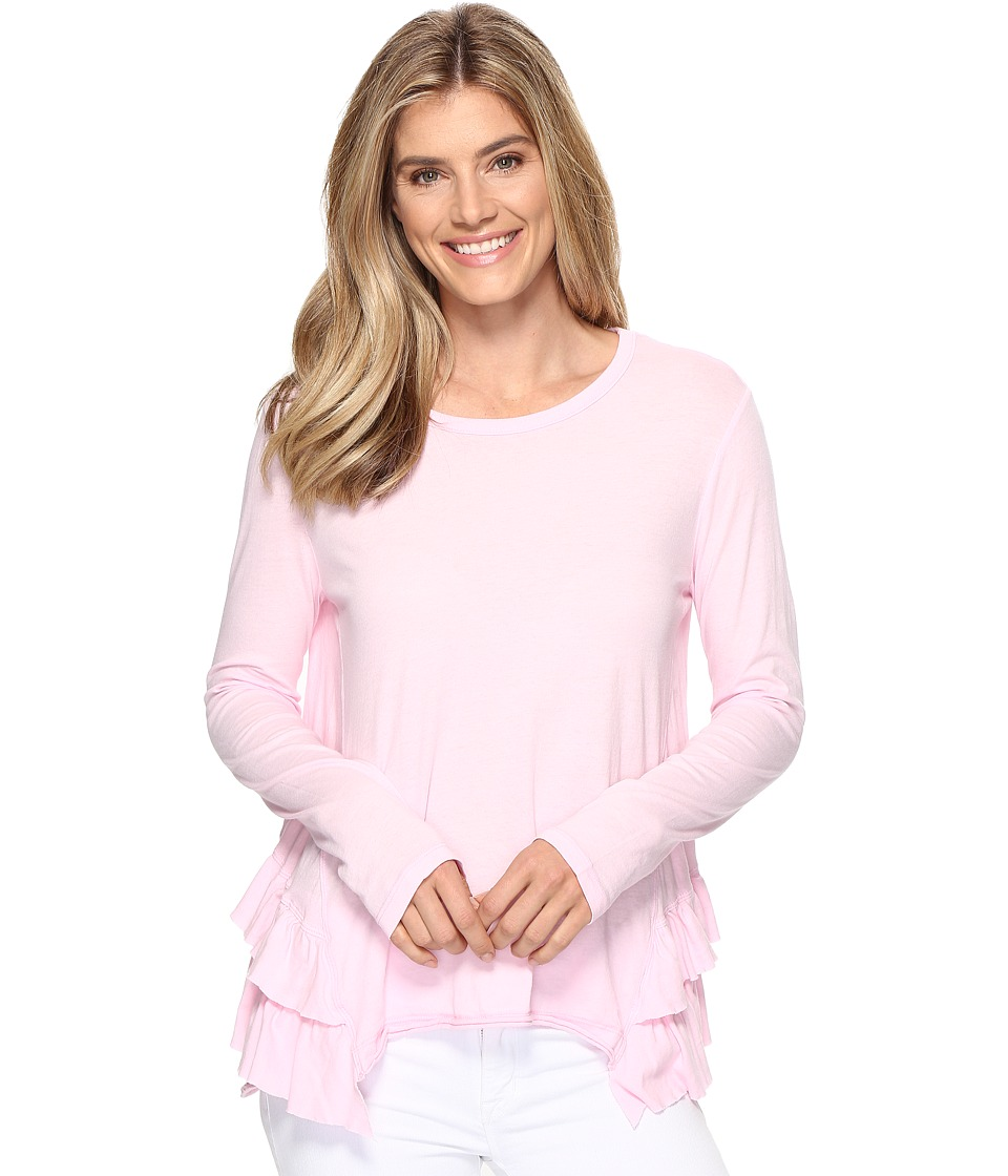 Dylan by True Grit - Vintage Soft Cotton Long Sleeve Double Ruffle Tee (Summer Pink) Women's Clothing