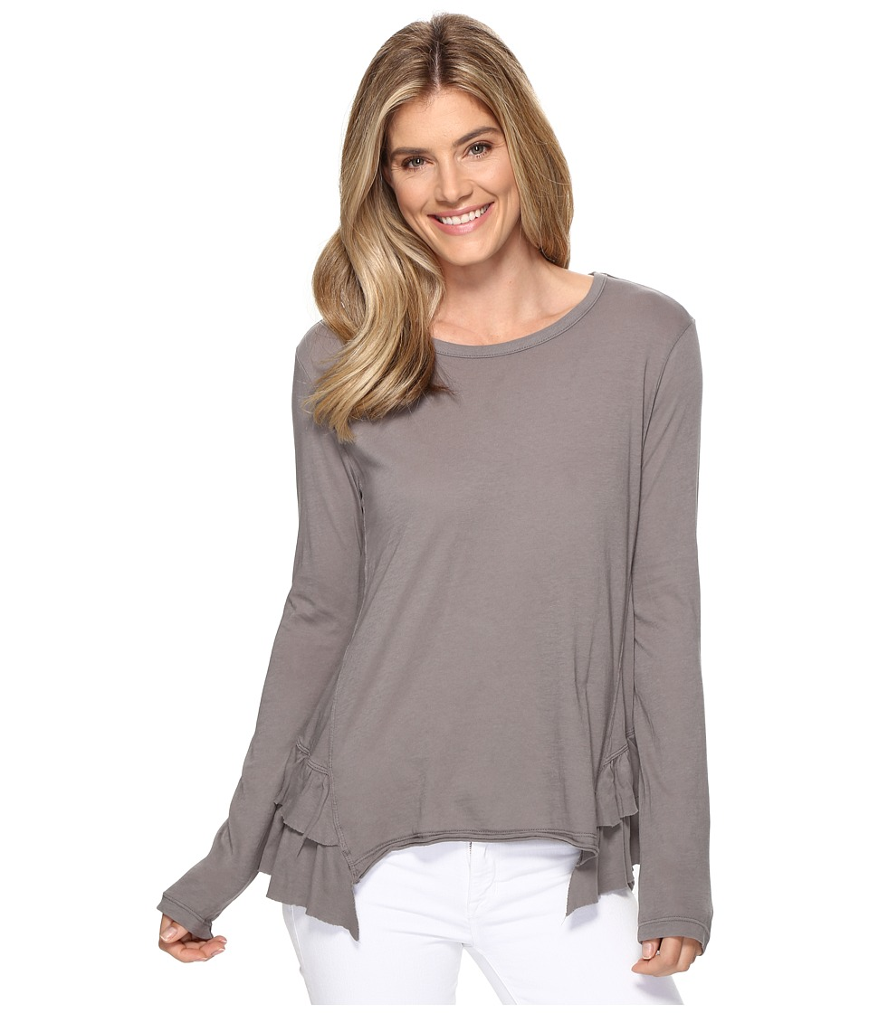 Dylan by True Grit - Vintage Soft Cotton Long Sleeve Double Ruffle Tee (Vintage Grey) Women's Clothing
