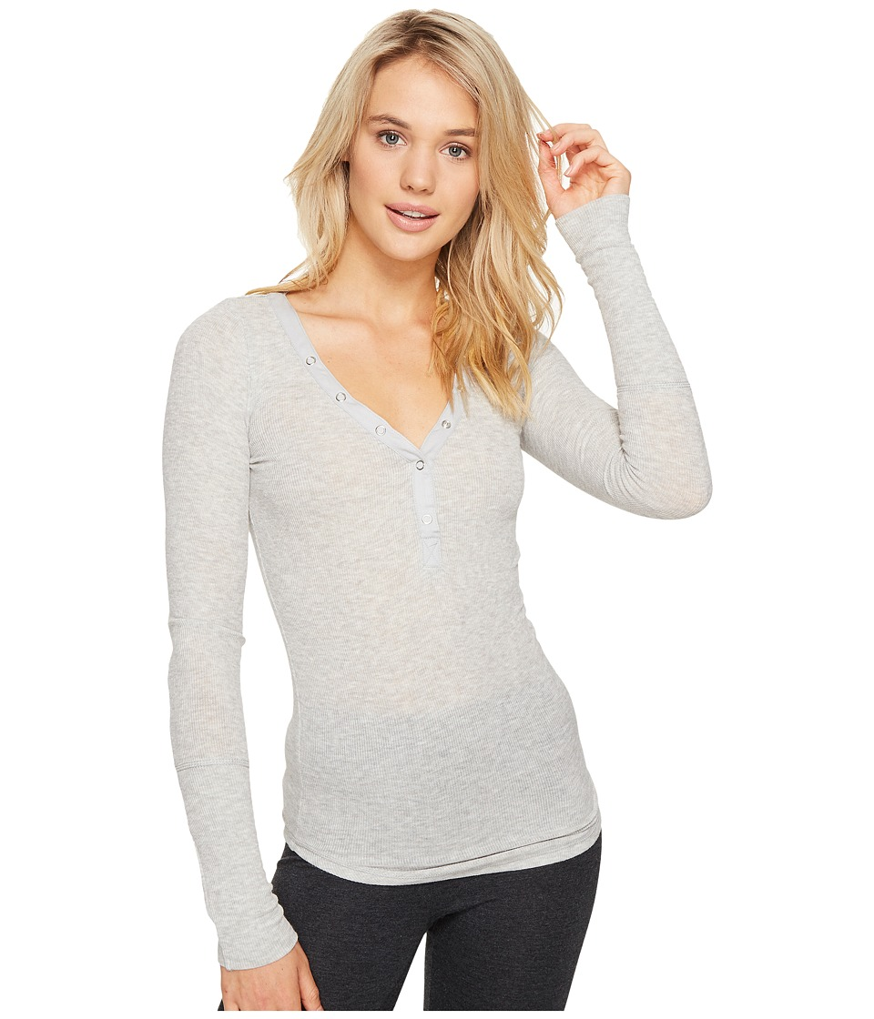 P.J. Salvage - Just Peachy Ribbed Long Sleeve Henley (Heather Grey) Women's Long Sleeve Pullover