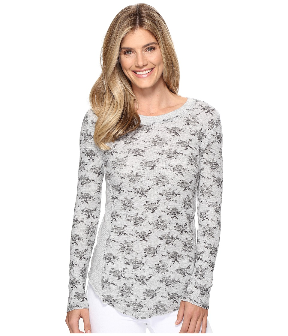 Dylan by True Grit - Vintage Heather Print Baby Thermal Long Sleeve Crew (Grey) Women's Clothing