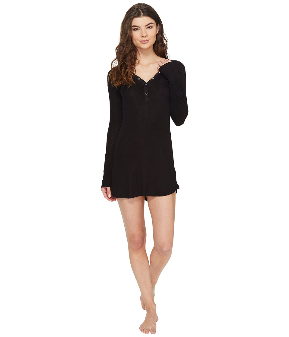 P.J. Salvage - Just Peachy Ribbed Nightshirt (Black) Women's Pajama