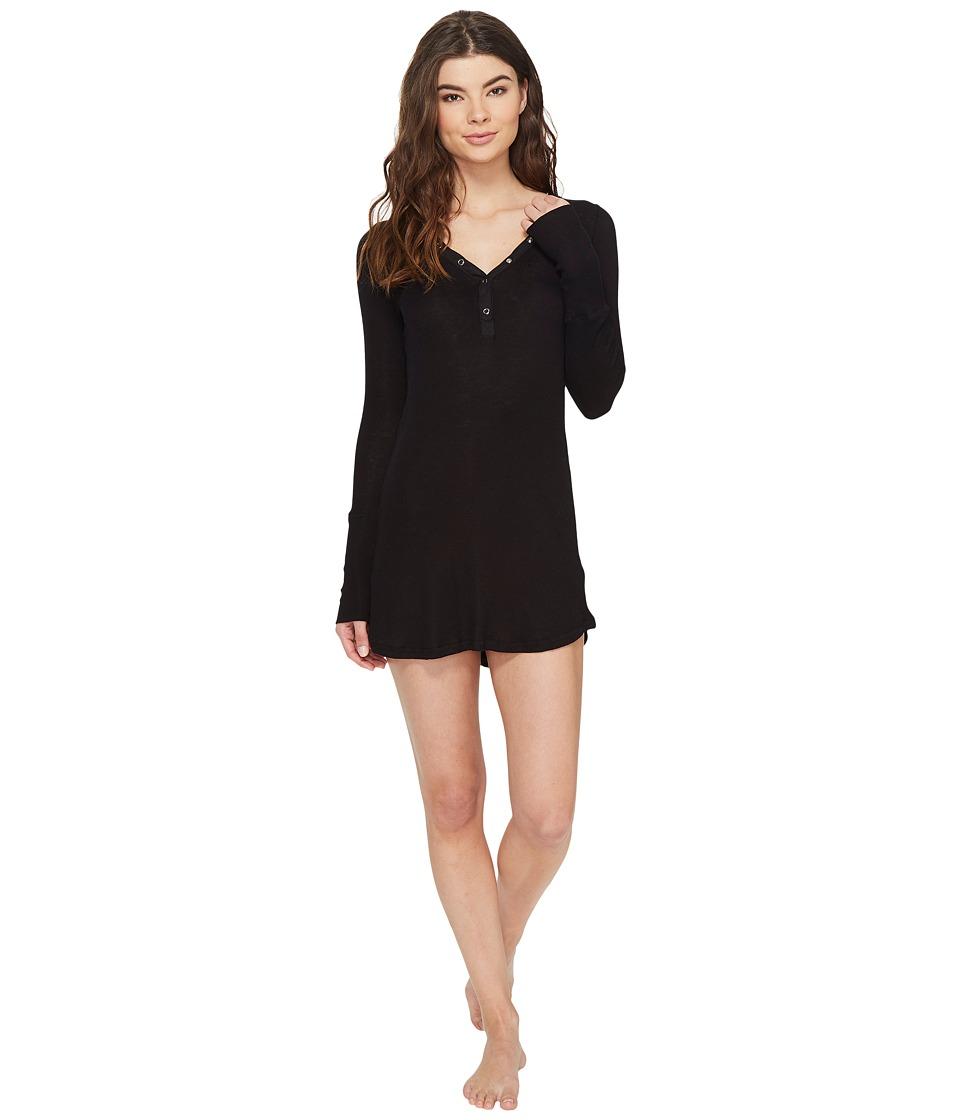 P.J. Salvage - Just Peachy Ribbed Nightshirt (Black) Women's Pajama