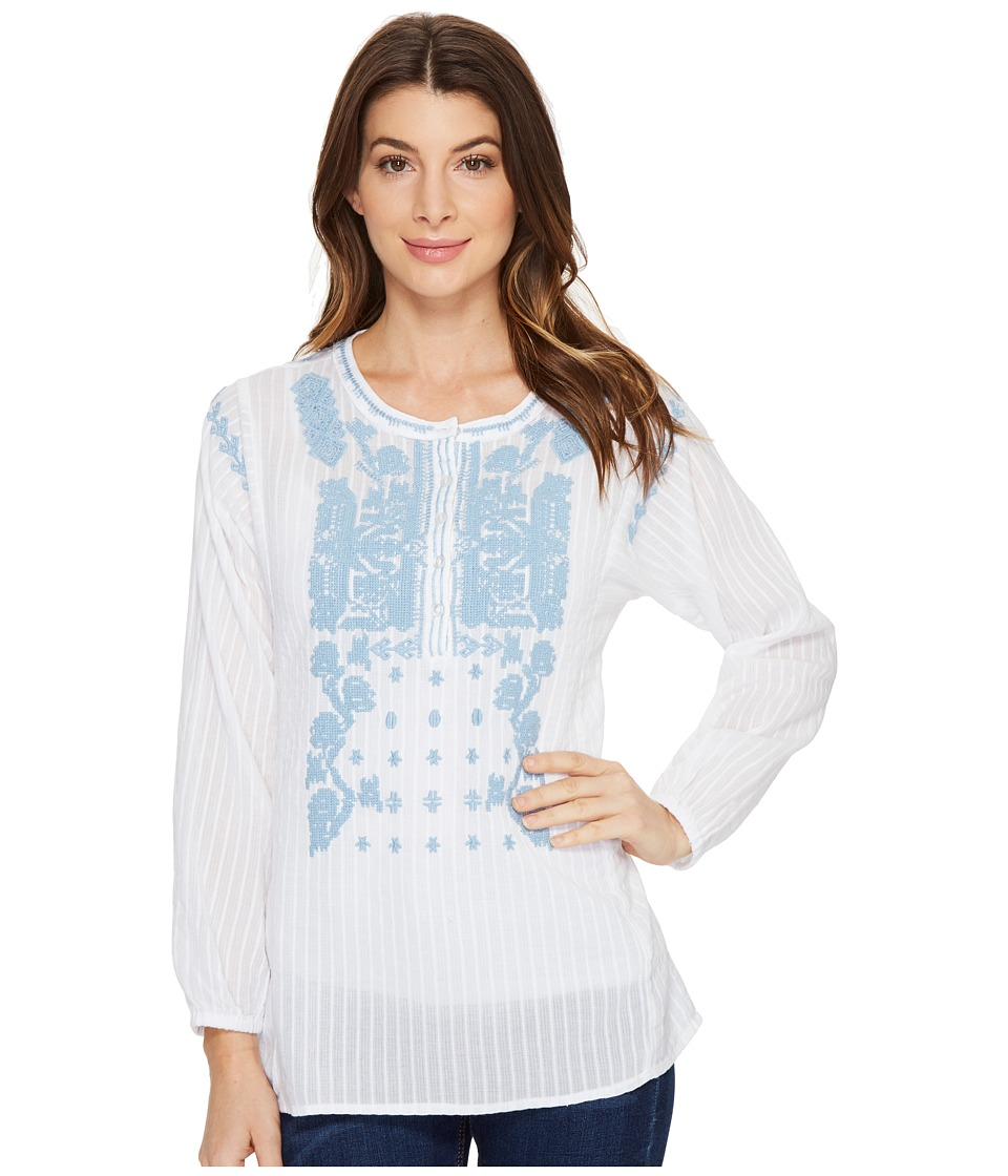 Dylan by True Grit - Embroidered and Stitched Cotton Long Sleeve Tunic (White/Sky Embroidery) Women's Clothing