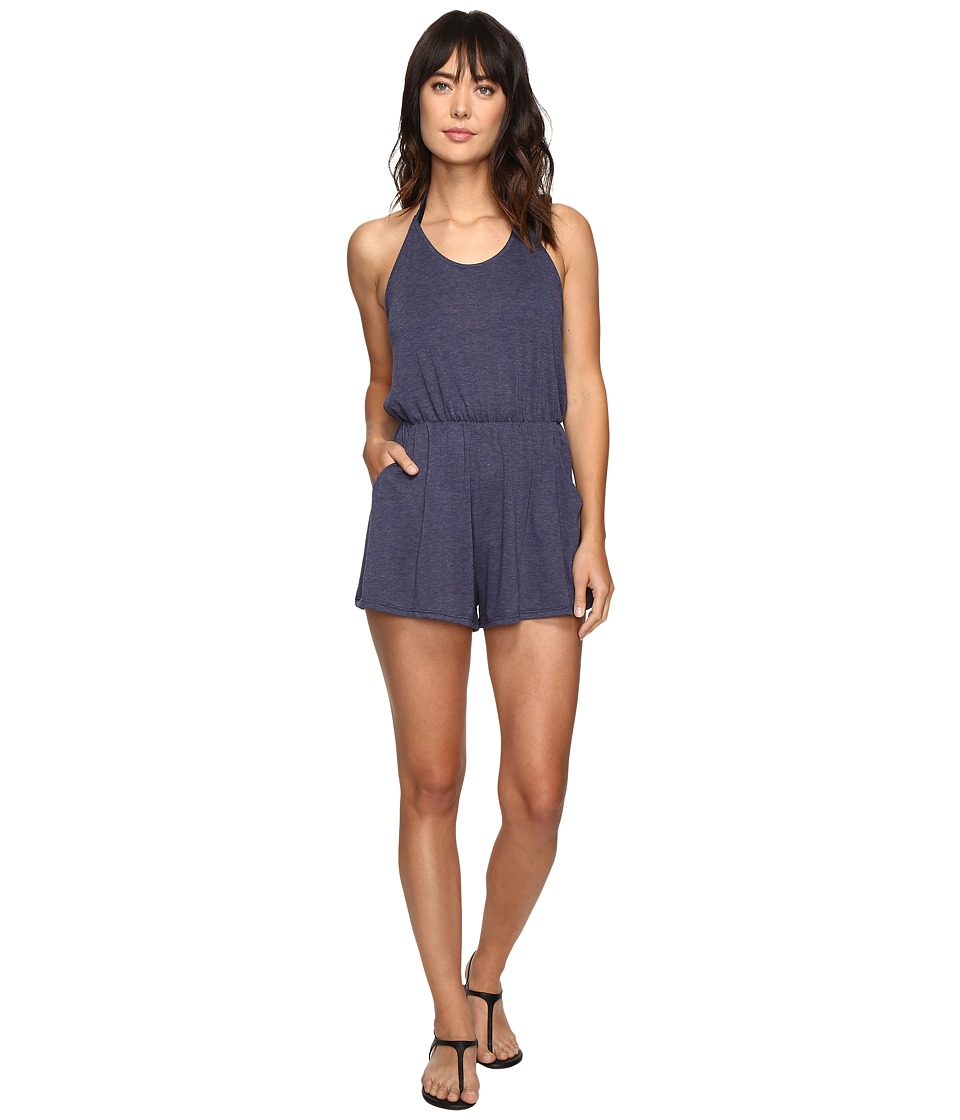 Lucky Brand - Festival Solid Romper Cover-Up (Indigo) Women's Jumpsuit & Rompers One Piece