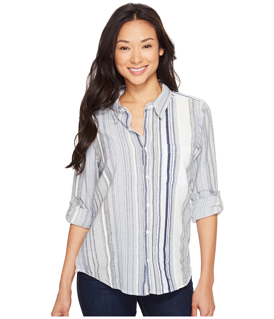 Dylan by True Grit - Coast Stripes One-Pocket Roll Sleeve Shirt (Blue) Women's Long Sleeve Button Up