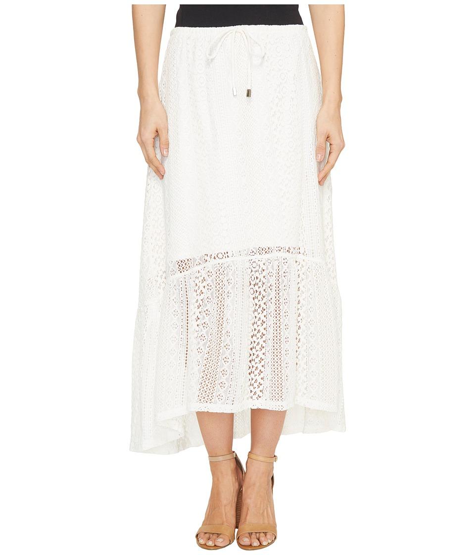 Dylan by True Grit Sierra Lace Gypsy Skirt w/ Lining (Washed White) Women