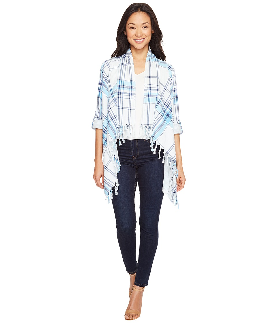 Dylan by True Grit - Double Light Double Weave Plaid Fringe Cardigan (White/Surf) Women's Sweater
