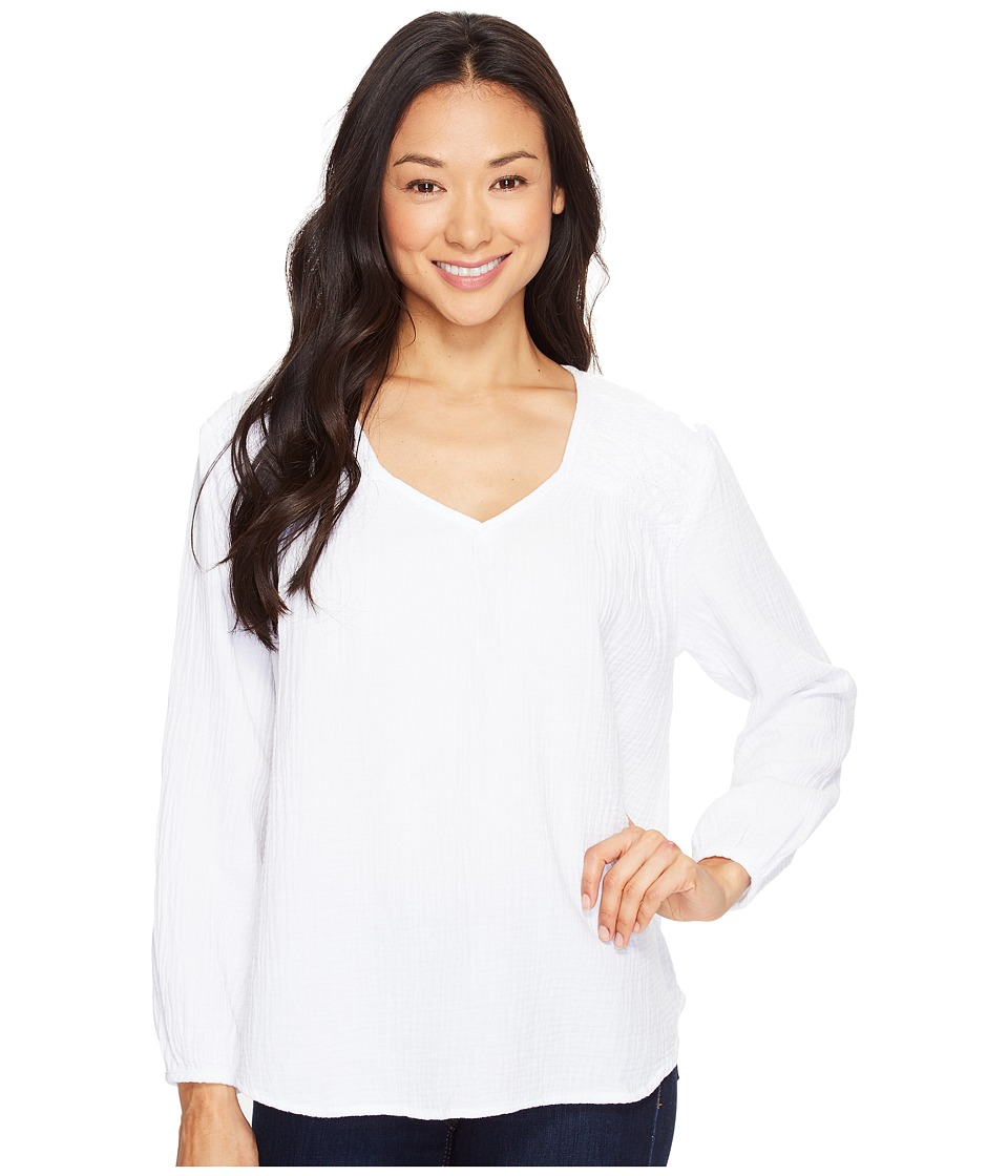 Dylan by True Grit - V-Neck with Crochet (White Tee) Women's Long Sleeve Pullover