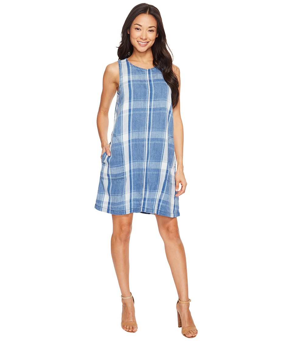 Dylan by True Grit Indigo Windowpane Plaid Shift Dress