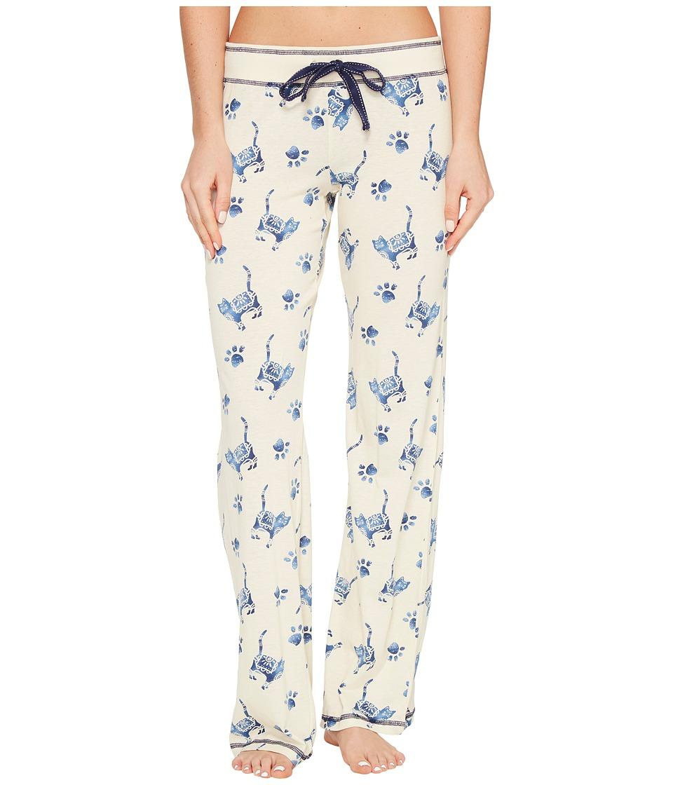 P.J. Salvage - Blue Batik Cat Lounge Pants (Sand) Women's Casual Pants