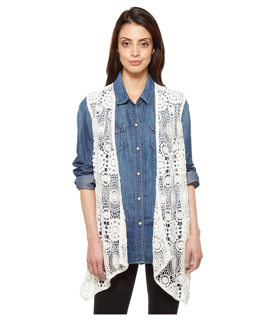 Dylan by True Grit - Casita Crochet Rosa Vest (Vintage White) Women's Vest