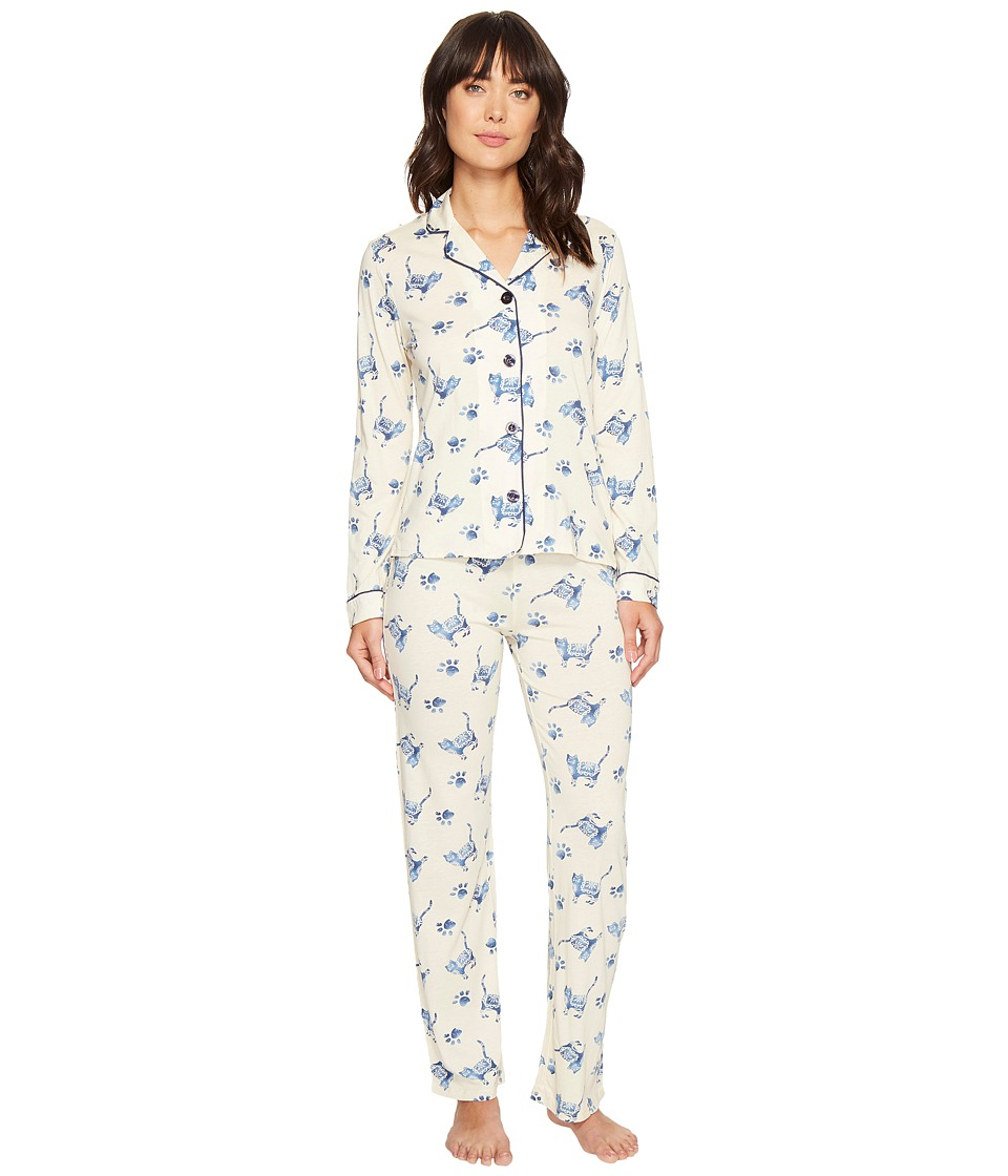 P.J. Salvage - Blue Batik Cat PJ Set (Sand) Women's Pajama Sets