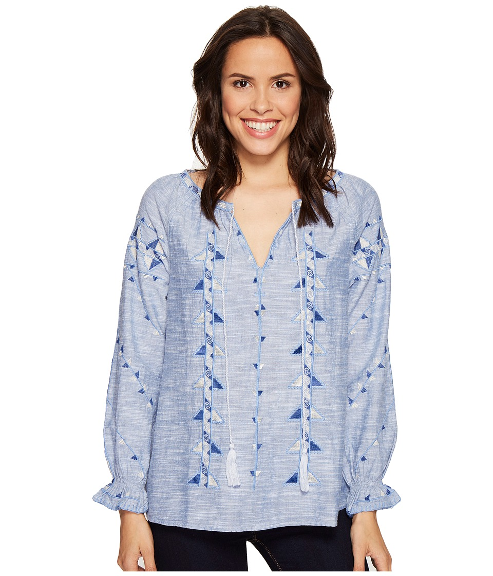 Dylan by True Grit - Rosemary Tribal Indigo Blouse (Chambray) Women's Long Sleeve Pullover