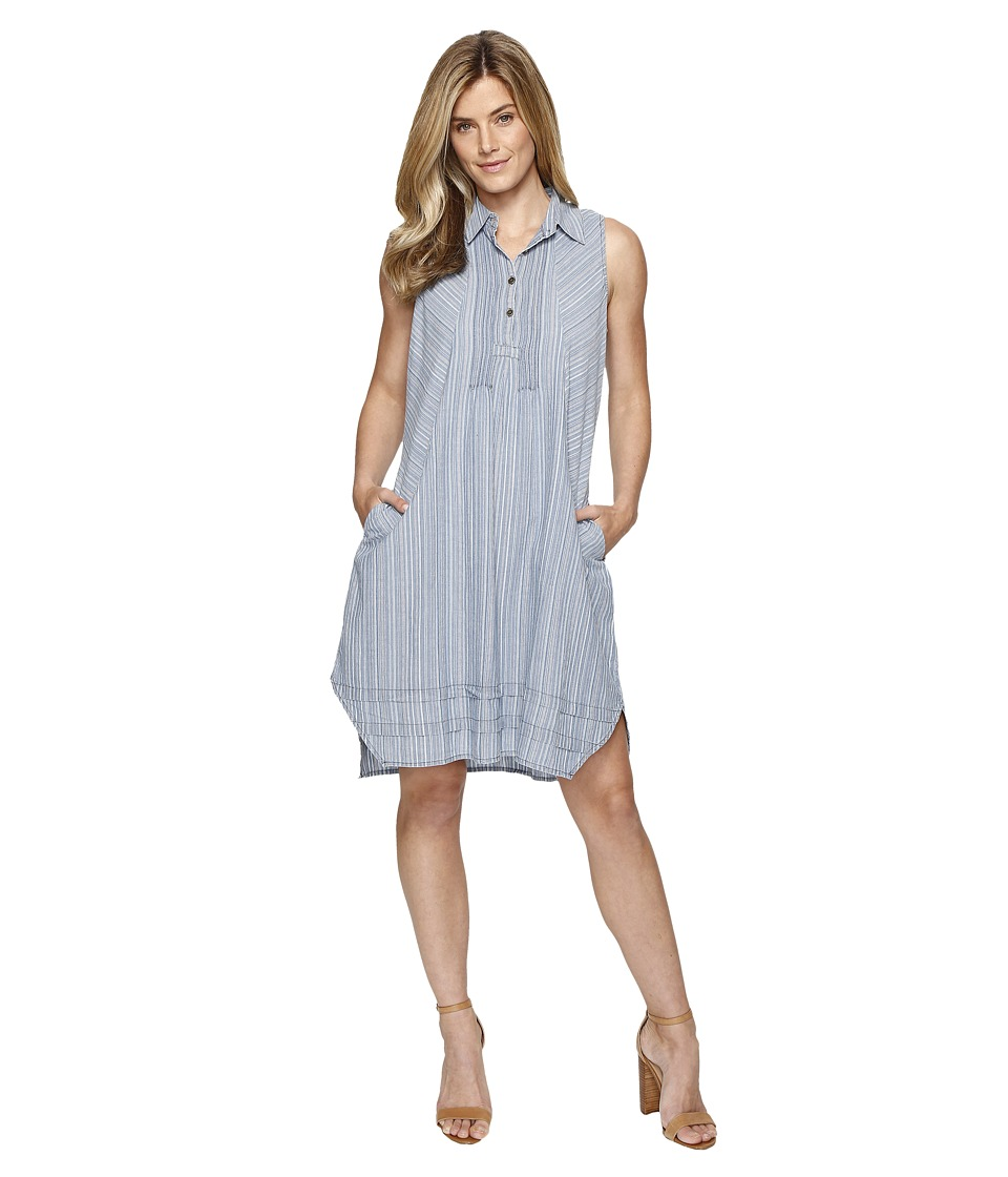 Dylan by True Grit - Stripe Shirt Pintuck Dress with Pockets (Chambray) Women's Dress