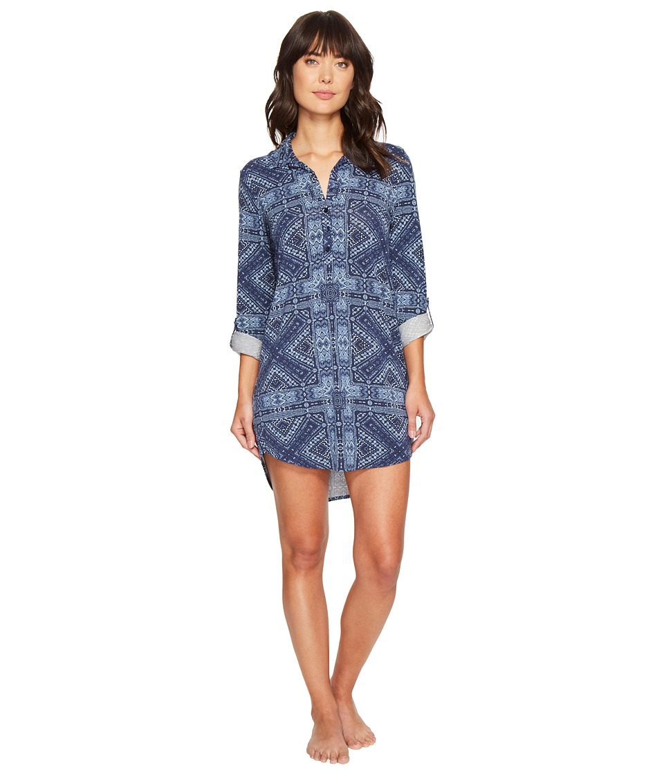 P.J. Salvage - Blue Batik Paisley Sleepshirt (Navy) Women's Pajama