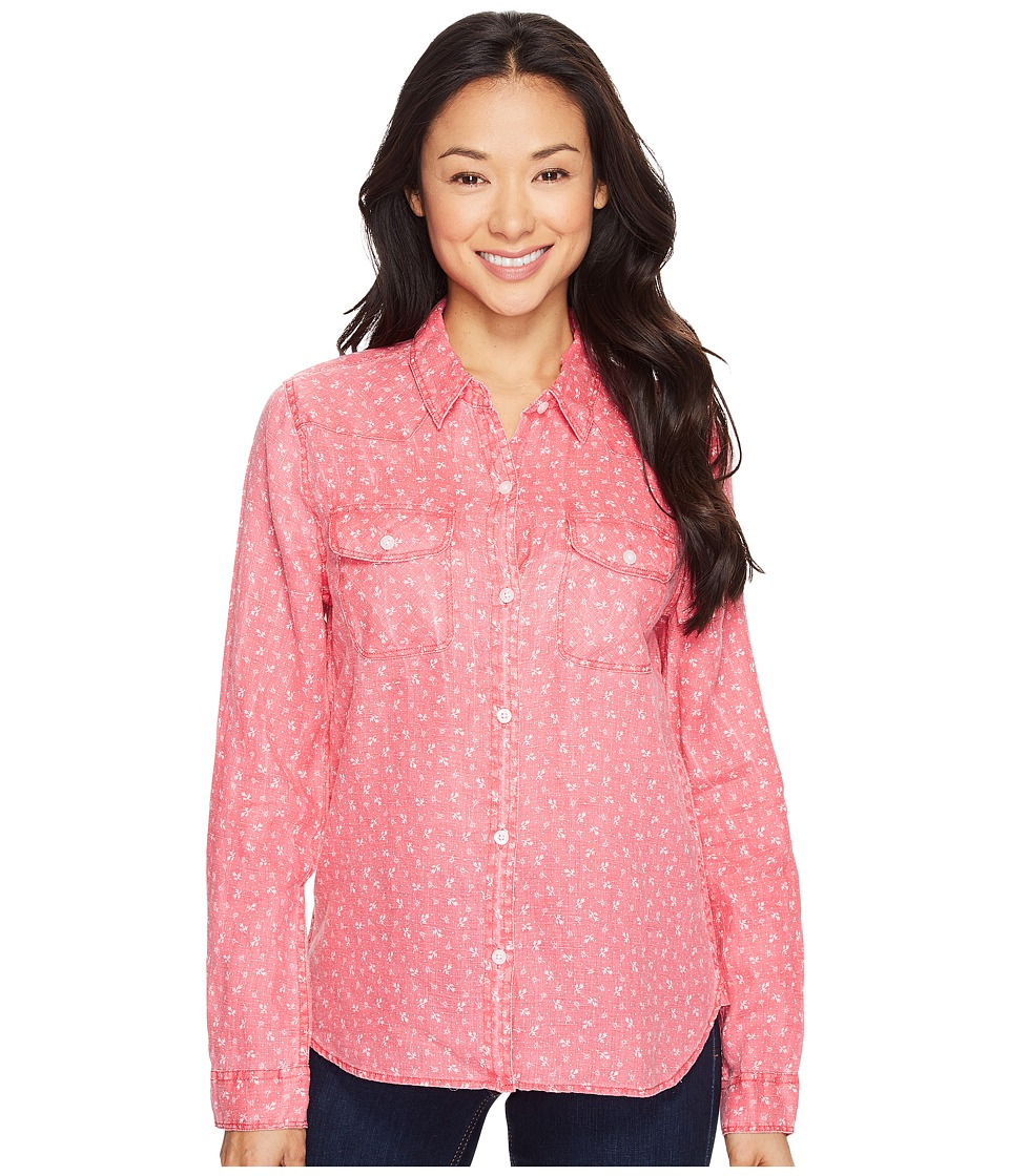 Dylan by True Grit Vintage Jane Printed Linen Long Sleeve Ranch Shirt (Soft Red) Women
