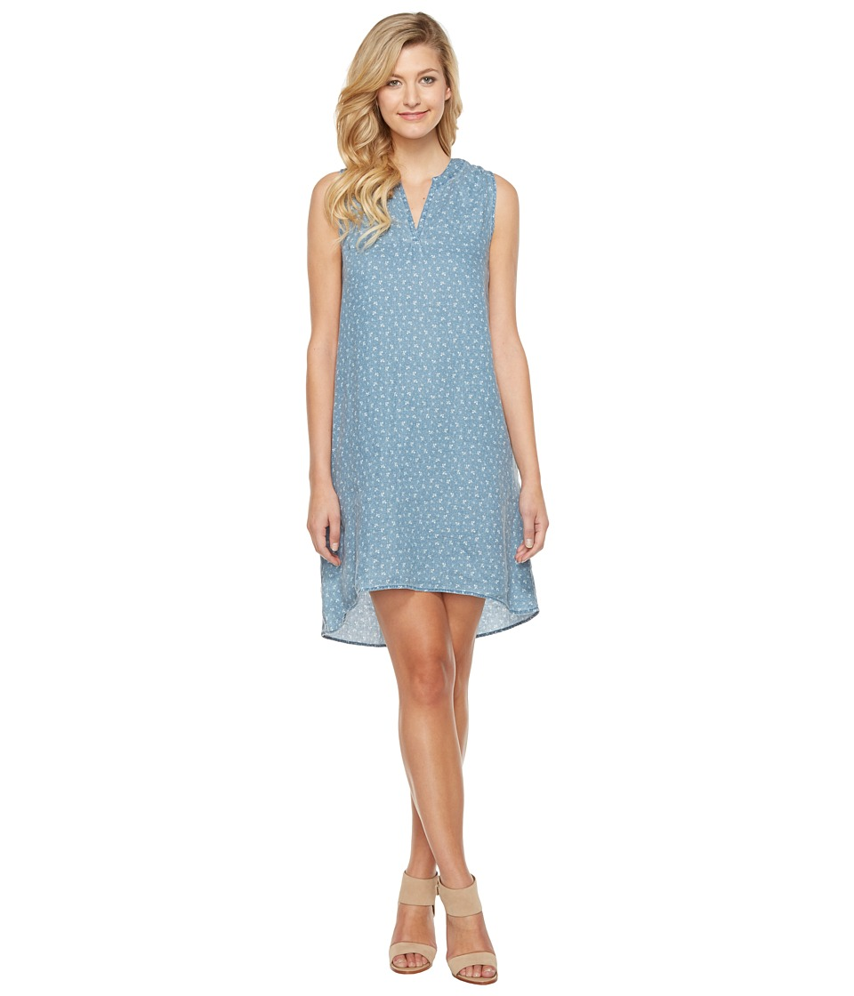 Dylan by True Grit Vintage Jane Printed Linen Sleeveless Shirt Dress with Pockets (Soft Blue) Women