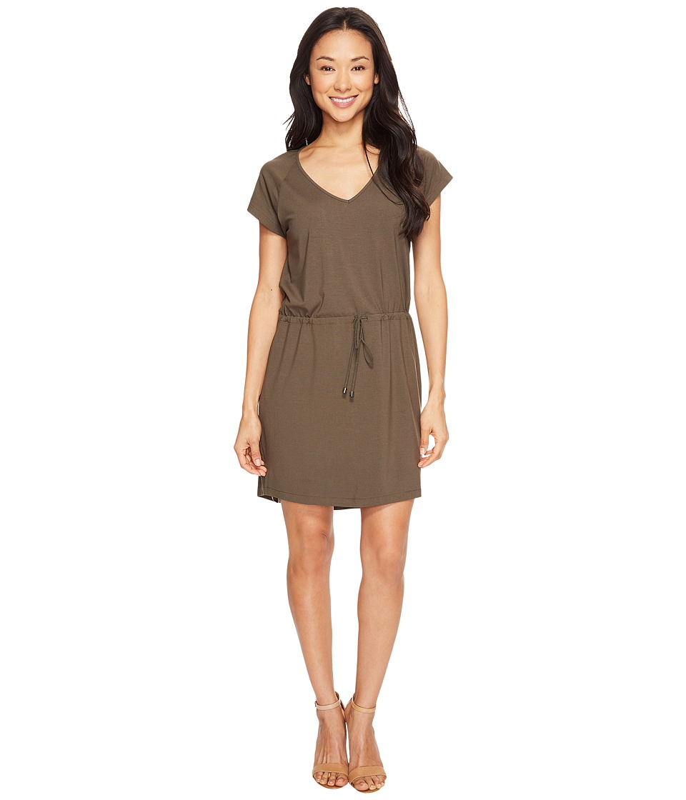 Lilla P Short Sleeve V-Neck Dress (Moss) Women