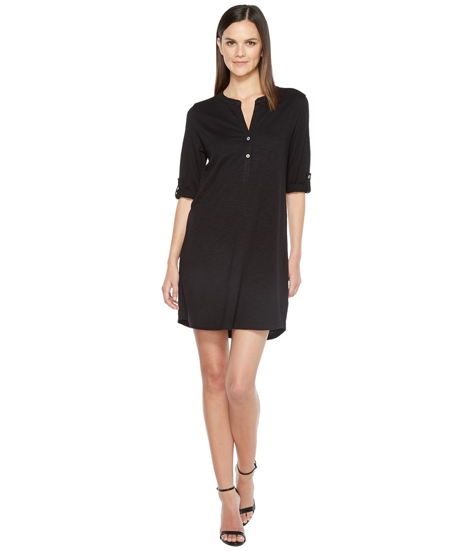 Lilla P - Tab Sleeve Henley Dress (Black) Women's Dress