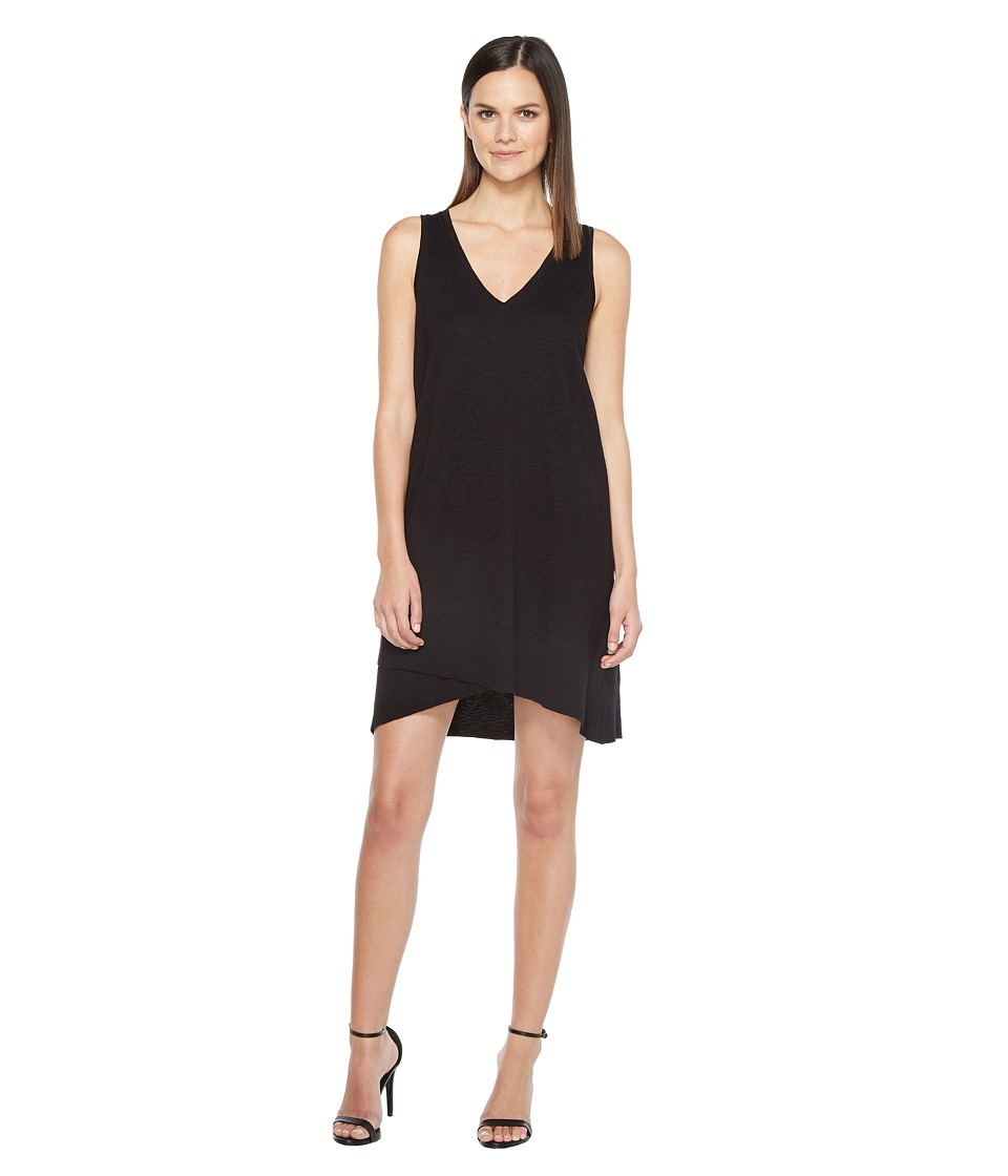 Lilla P - V-Neck Rib Trim Dress (Black) Women's Dress