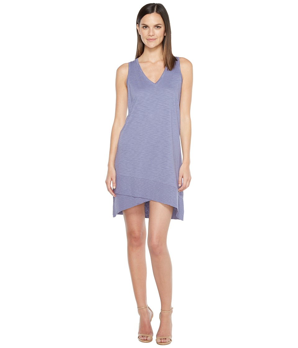 Lilla P V-Neck Rib Trim Dress (Heron) Women