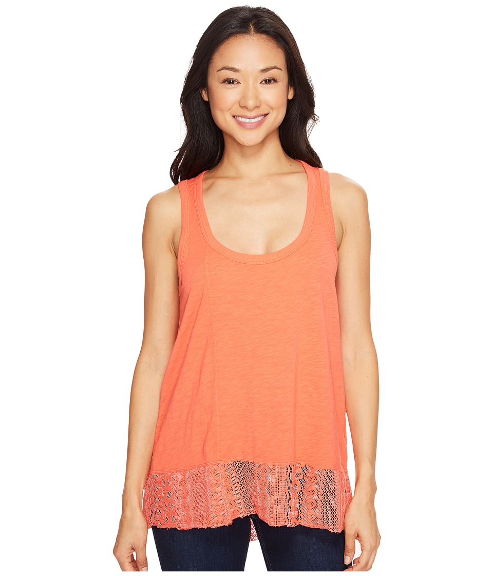 Dylan by True Grit - Soft Slub Knit Tank Top with Lace Rib Border (Washed Coral) Women's Sleeveless