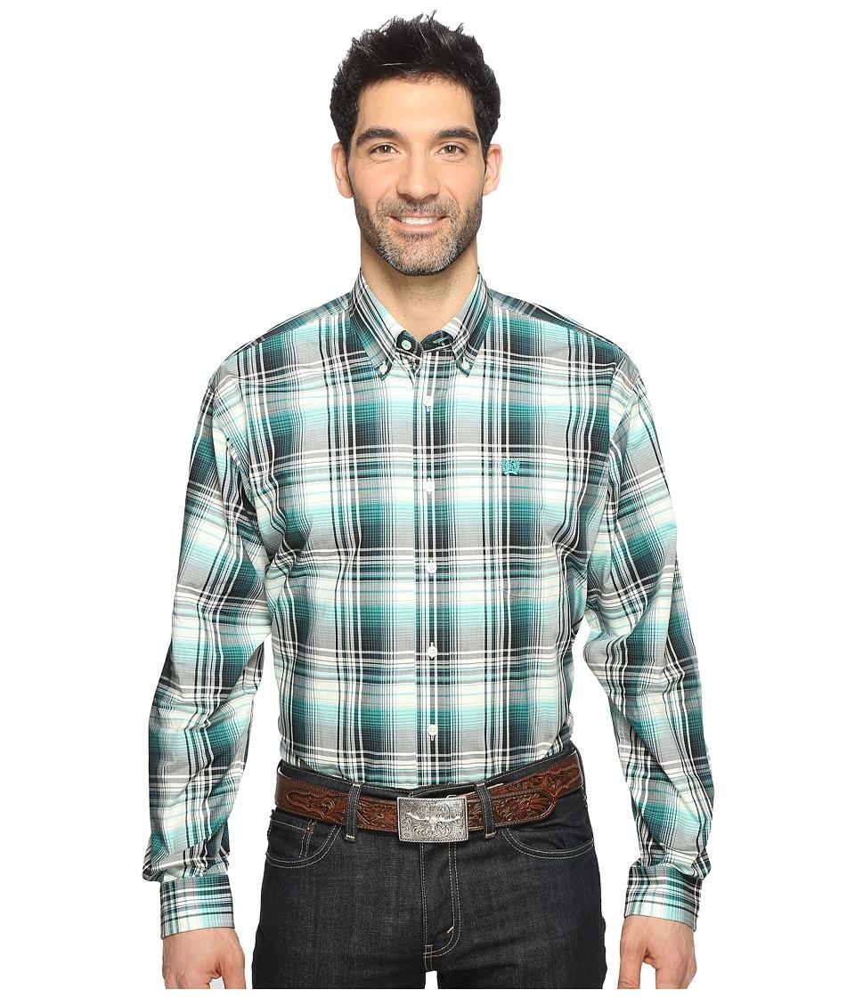 Cinch - Long Sleeve Plain Weave Plaid (Cream) Men's Long Sleeve Button Up