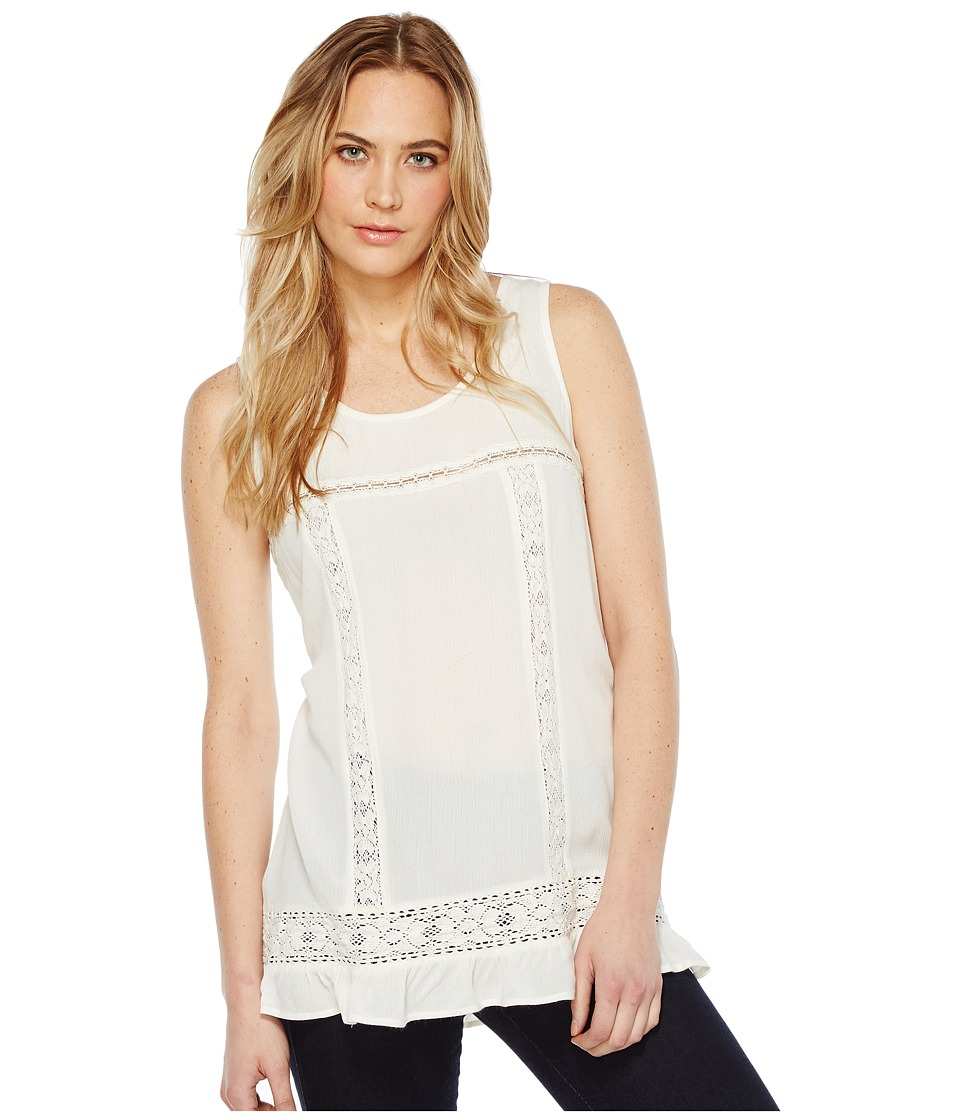 Dylan by True Grit - Crushed Rayon and Crochet Ruffle Tank Top (Vintage White) Women's Sleeveless