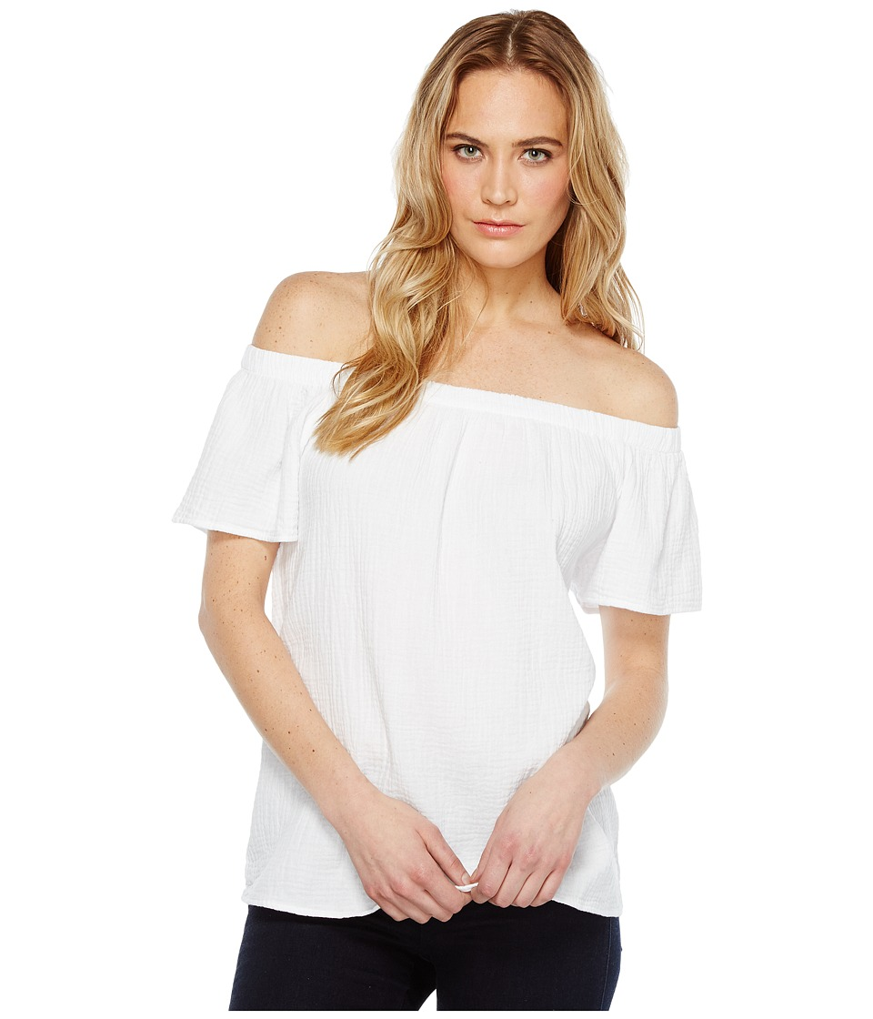 Dylan by True Grit - Raglan Off Shoulder Top (White Tee) Women's Short Sleeve Pullover