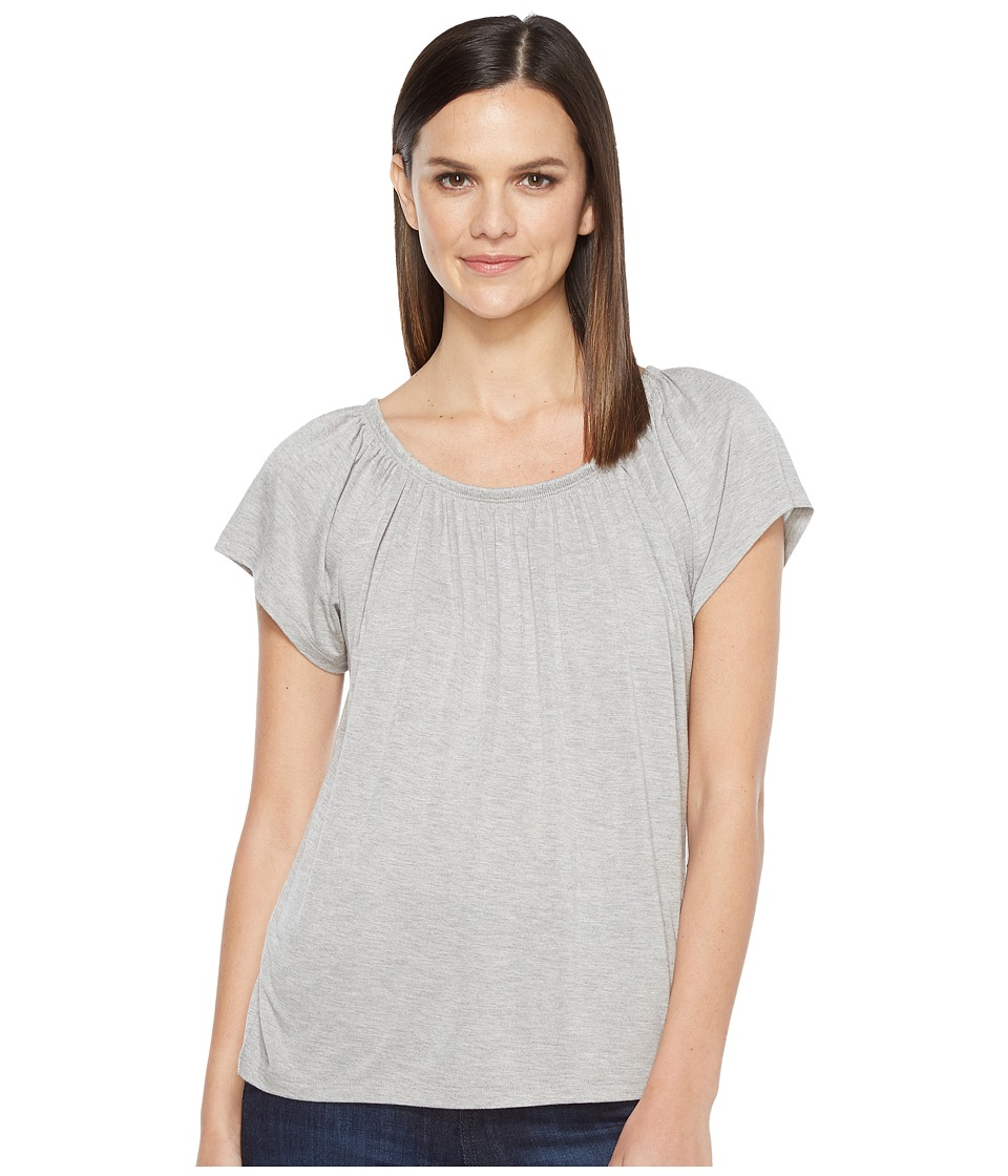 Lilla P - Shirred Neck Top (Pewter Heather) Women's Clothing