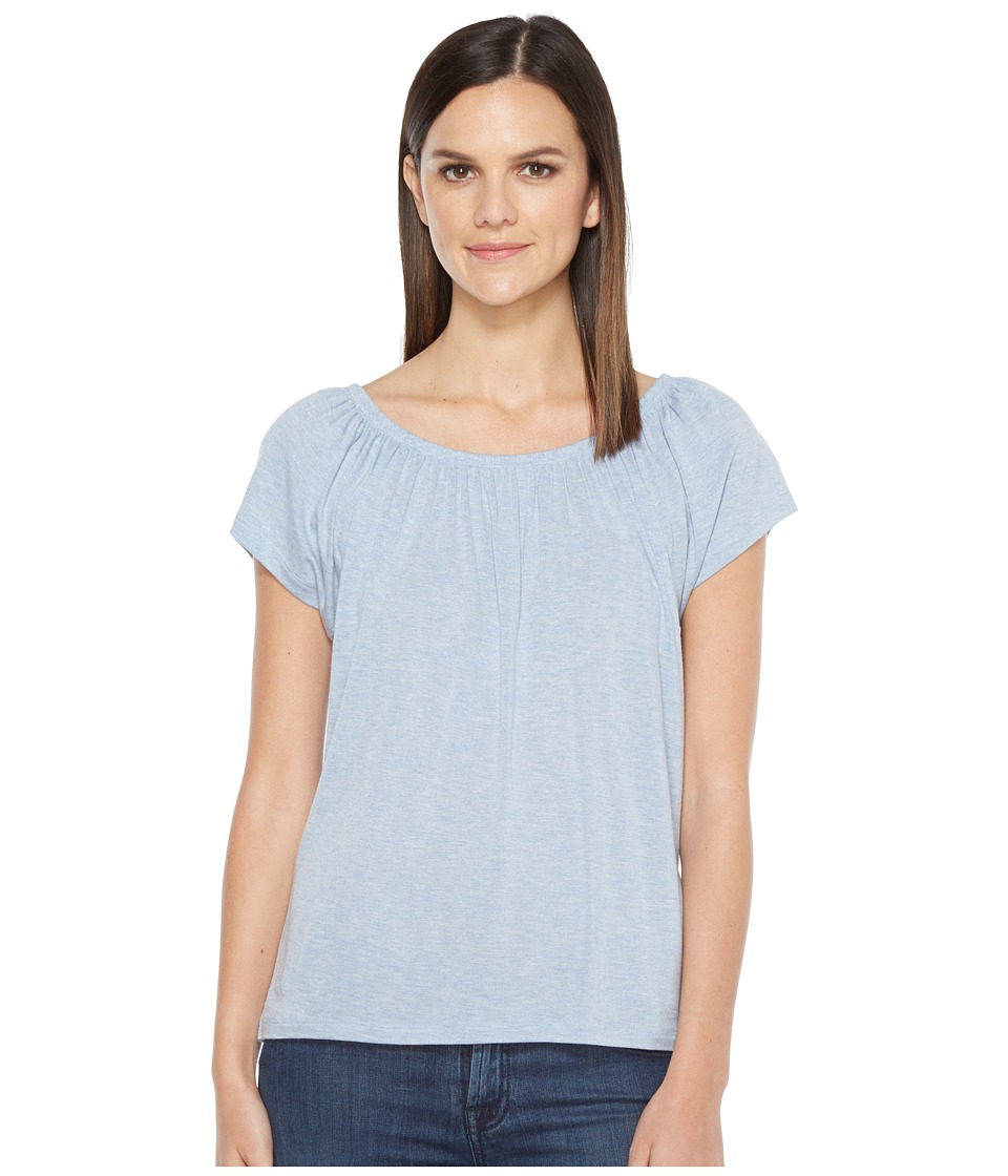 Lilla P - Shirred Neck Top (River Heather) Women's Clothing