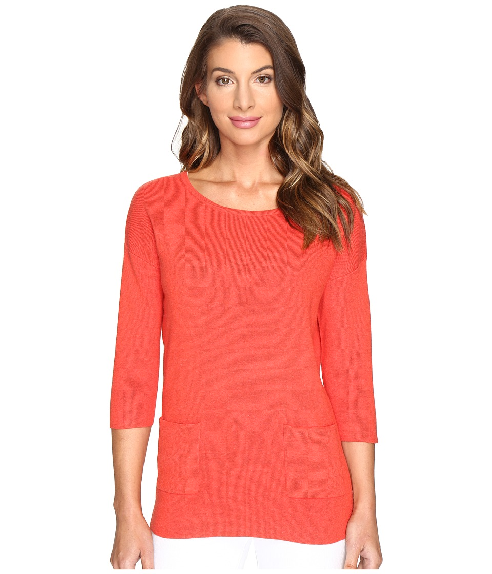 Lilla P 3/4 Sleeve Boat Neck (Zinnia Heather) Women